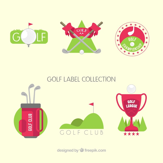 Collection of green and red golf labels Free Vector