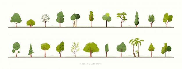 Collection of green tree vector icons Premium Vector