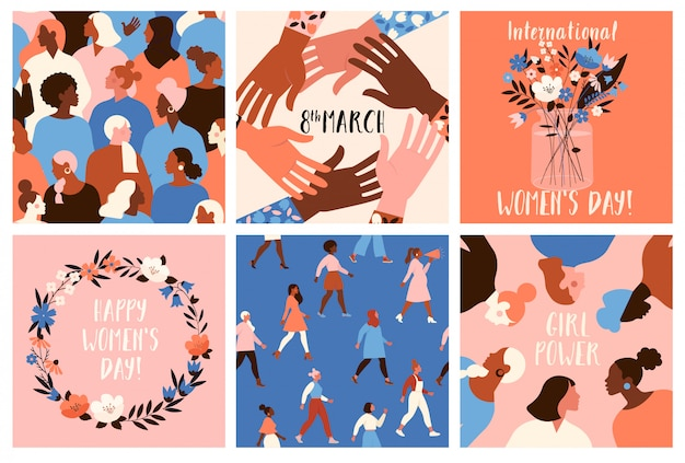 Collection of greeting card templates with flowers, feminism activists and happy womens day. Premium Vector