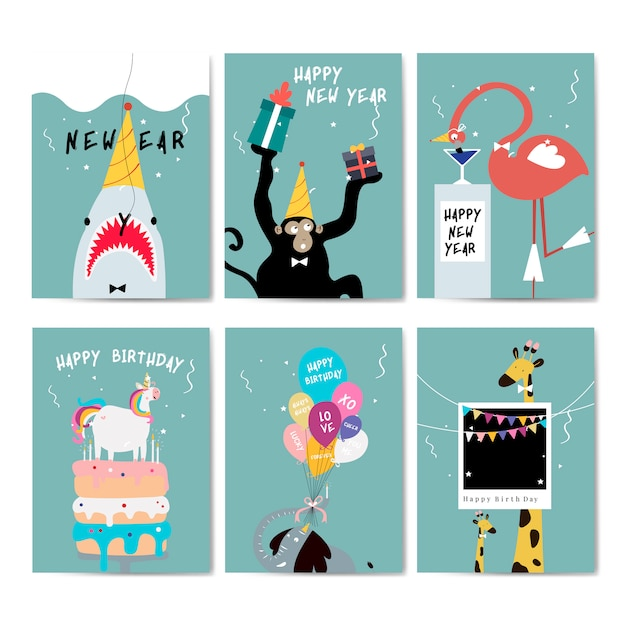 Collection of greeting cards vector Free Vector