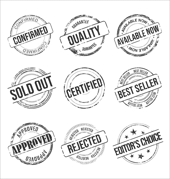 Collection of grungy rubber stamps vintage design Premium Vector