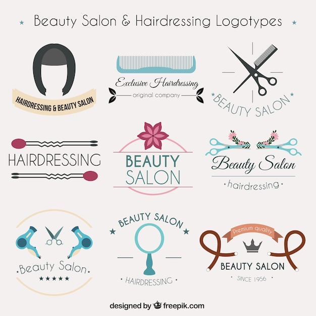 Collection of hairdressing logotypes Free Vector