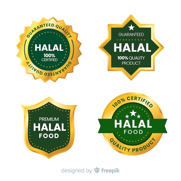 Collection of halal food badges Premium Vector
