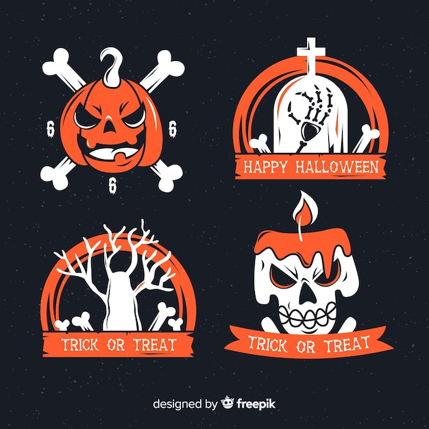 Collection of halloween badges flat design Vector   Free Download
