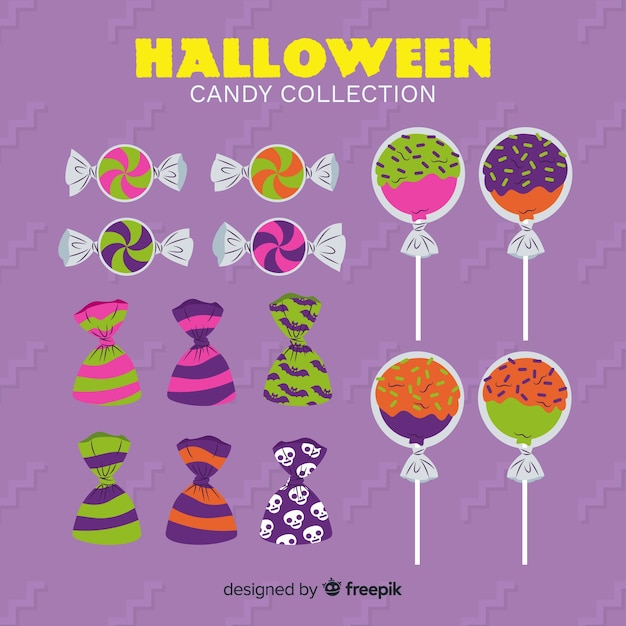 Collection of halloween candies on flat design Free Vector