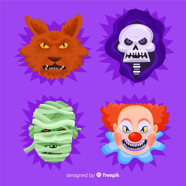 Collection of halloween character in flat design Free Vector