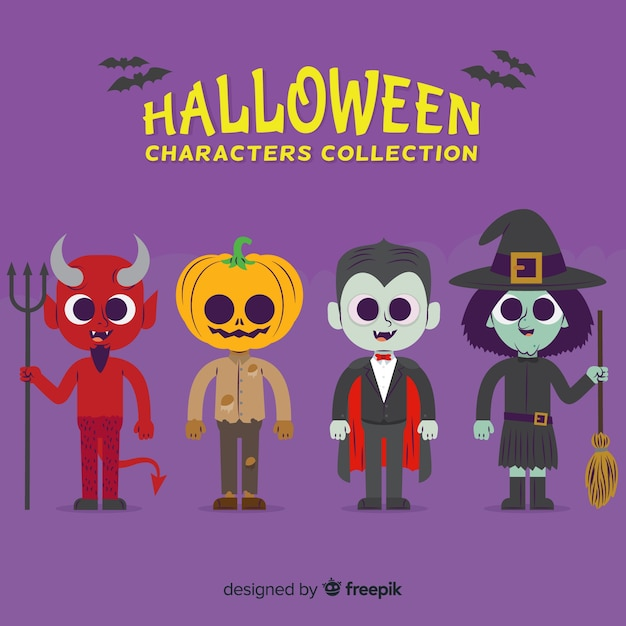 Collection of halloween character on flat design Free Vector