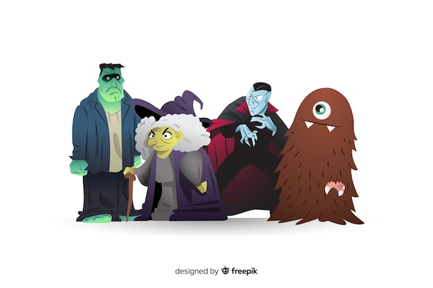 Collection of halloween characters Free Vector