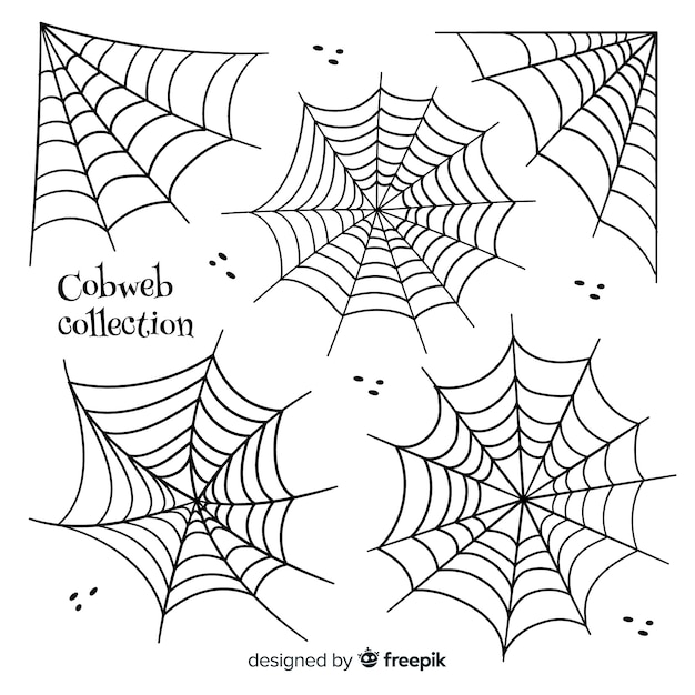 Collection of halloween cobwebs Free Vector