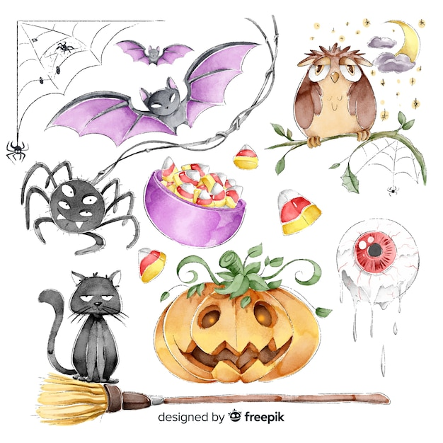 Collection of halloween cute elements in watercolor style Free Vector