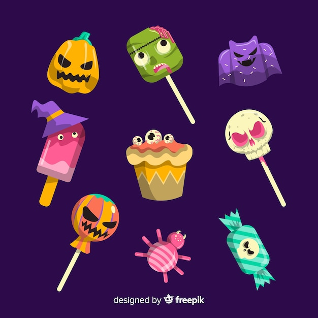 Collection of halloween delicious candies Free Vector