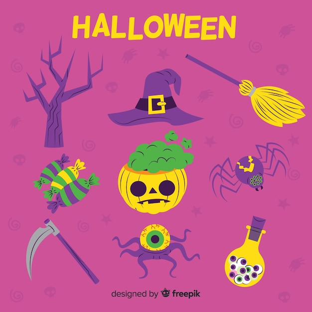 Collection of halloween element on flat design Free Vector