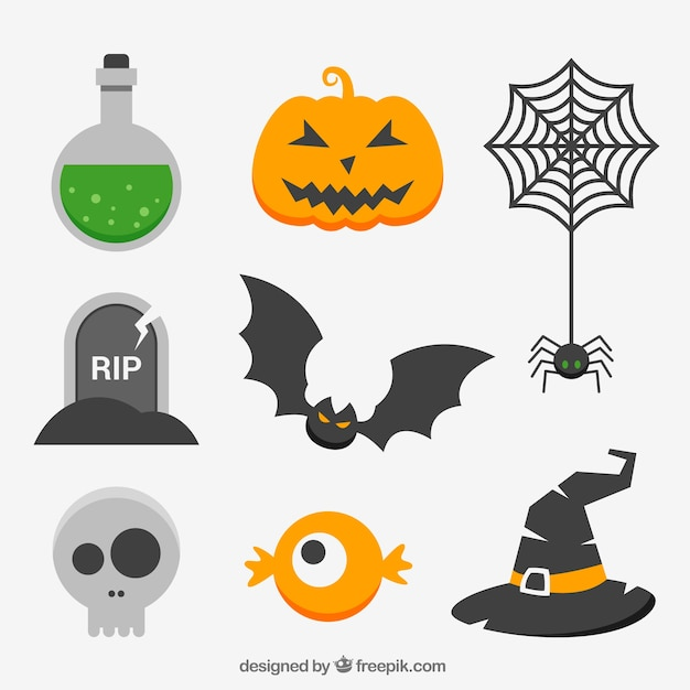 Collection of halloween elements in flat design Free Vector