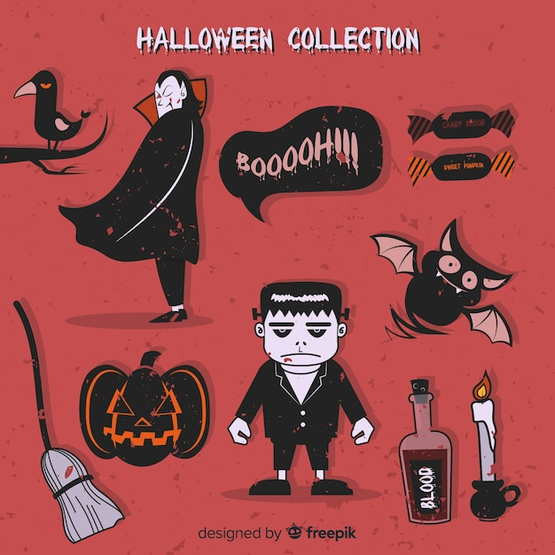 Collection of halloween elements Free Vector