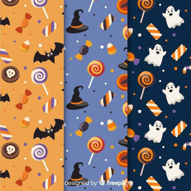 Collection of halloween flat design pattern Free Vector