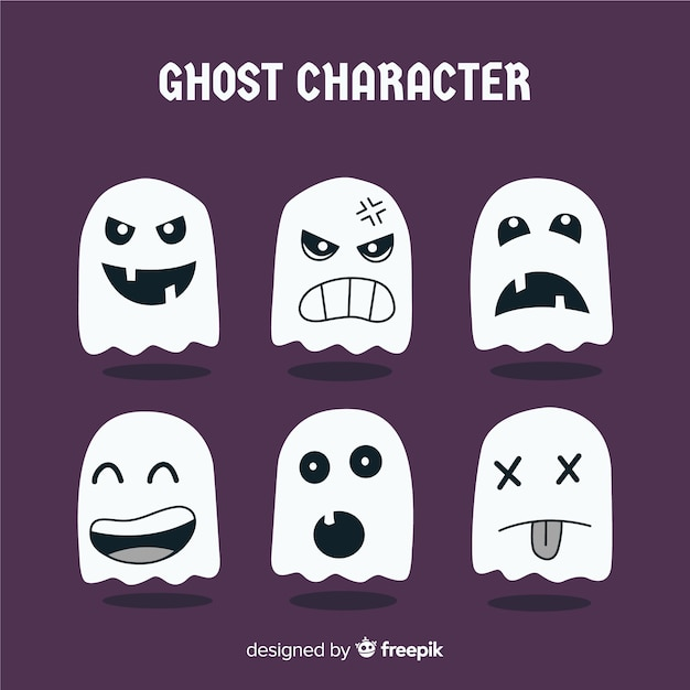 Collection of halloween ghost characters Free Vector