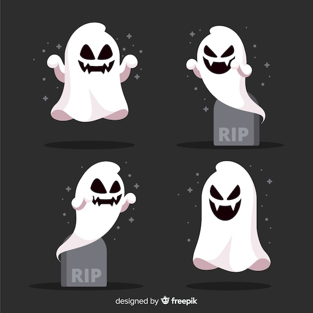 Collection of halloween ghost in flat design Free Vector
