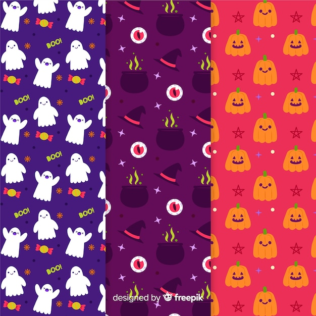 Collection of halloween hand drawn pattern Free Vector