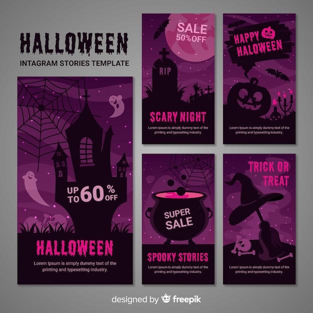 Collection of halloween instagram stories Free Vector