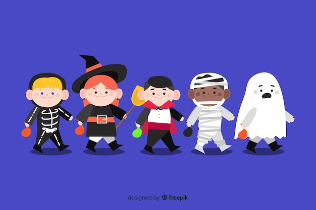 Collection of halloween kid collection Free Vector