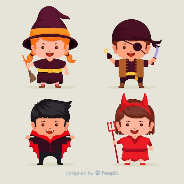 Collection of halloween kid costumes on flat design Free Vector