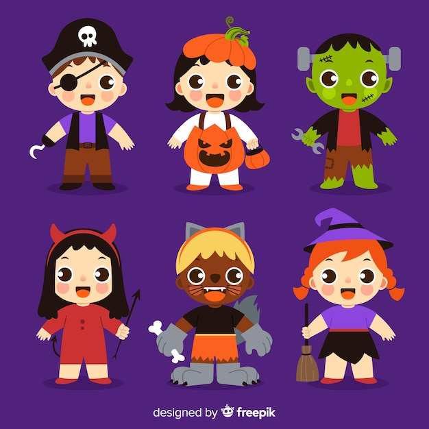 Collection of halloween kid costumes Free Vector