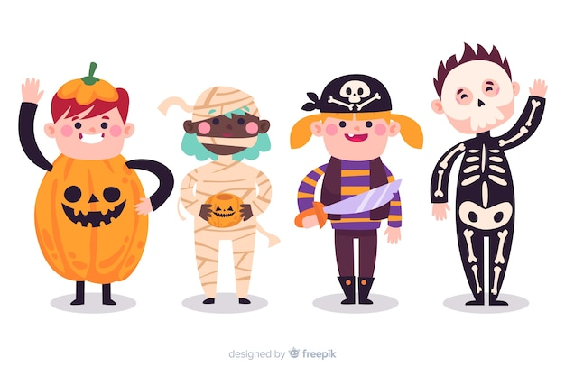 Collection of halloween kids in costumes Free Vector