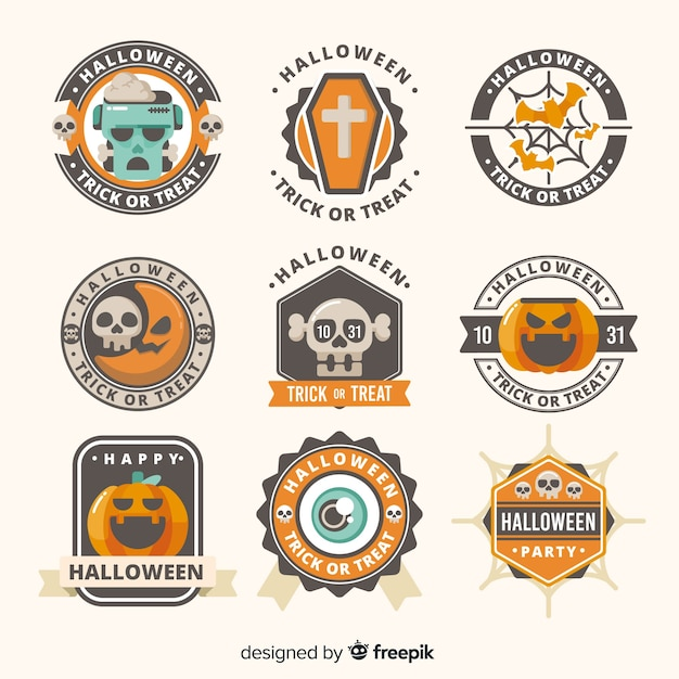 Collection of halloween label Free Vector