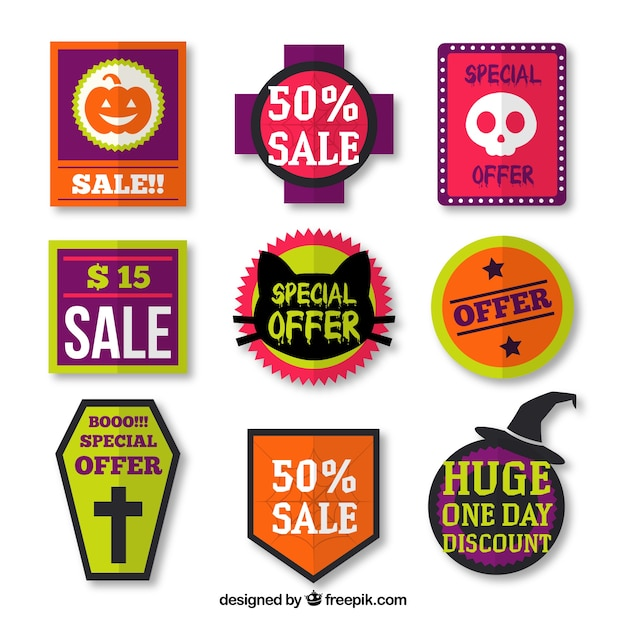Collection of halloween labels Free Vector