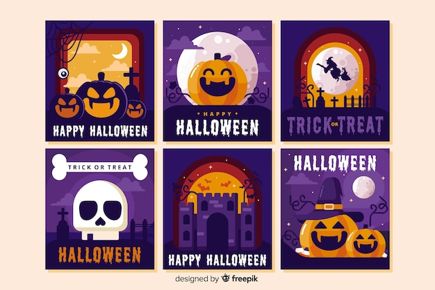 Collection of halloween mix Free Vector