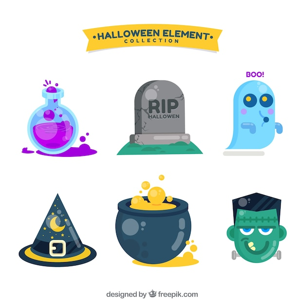 Collection of halloween objects and characters in flat design Free Vector