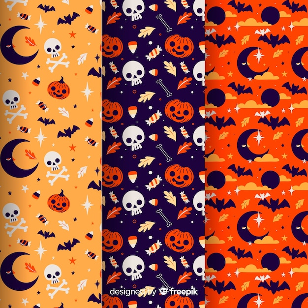 Collection of halloween pattern on flat design Free Vector