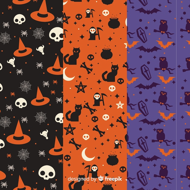 Collection of halloween pattern in flat design Free Vector