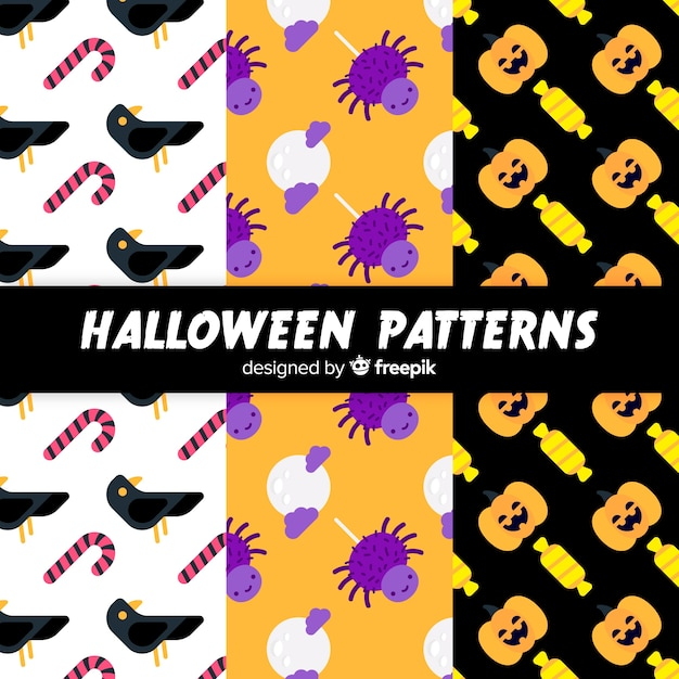 Collection of halloween patterns Free Vector