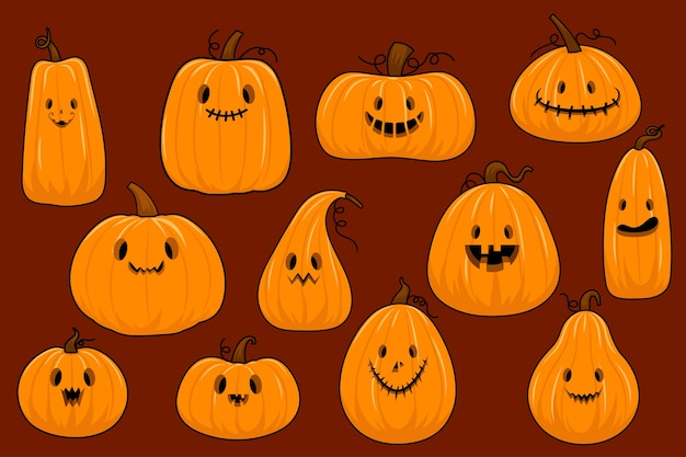 The collection of halloween pumpkin in flat vector style. illustration for content, banner, poster, greeting card. Free Vector