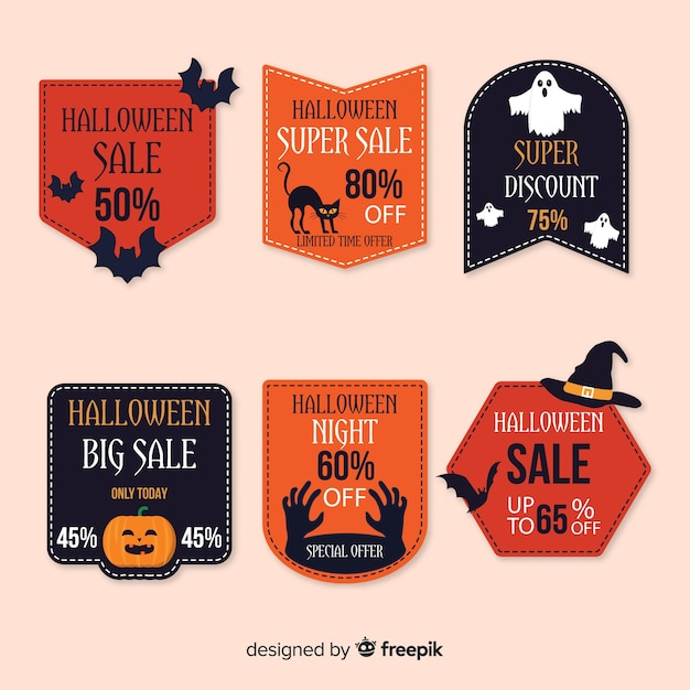 Collection of halloween sale bagde on flat design Free Vector