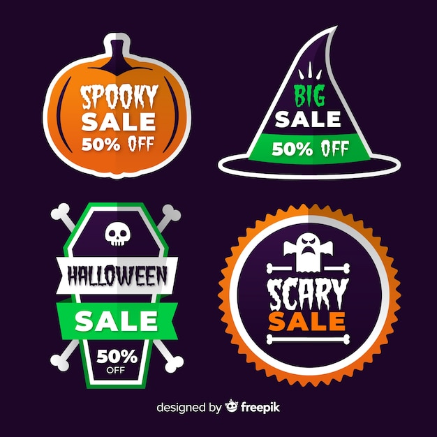 Collection of halloween sale label Free Vector