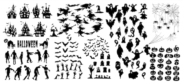 Collection of halloween silhouettes icon and character, elements for halloween decorations Premium Vector