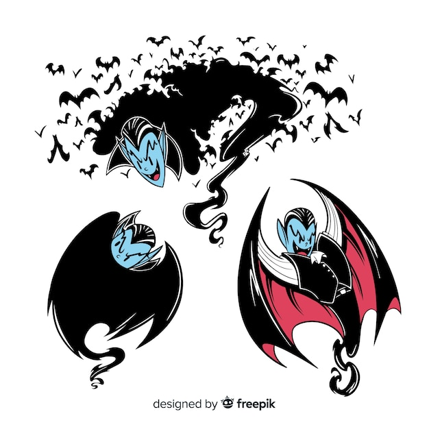 Collection of halloween vampires Free Vector