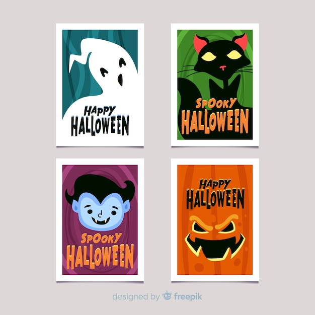 Collection of hallowen card on flat design Free Vector