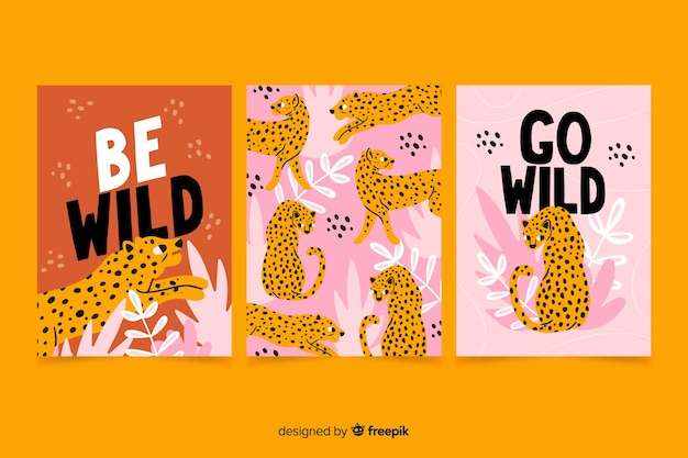 Collection of hand drawn animal cards Free Vector