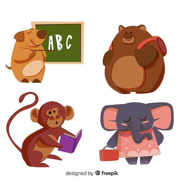 Collection of hand drawn animals back to school Free Vector