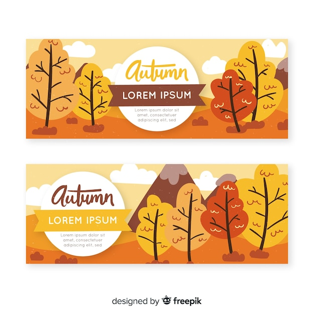 Collection of hand drawn autumn banners Free Vector