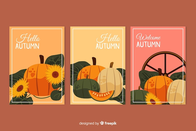 Collection of hand drawn autumn cards Free Vector