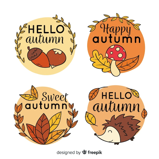 Collection of hand drawn autumn labels Free Vector
