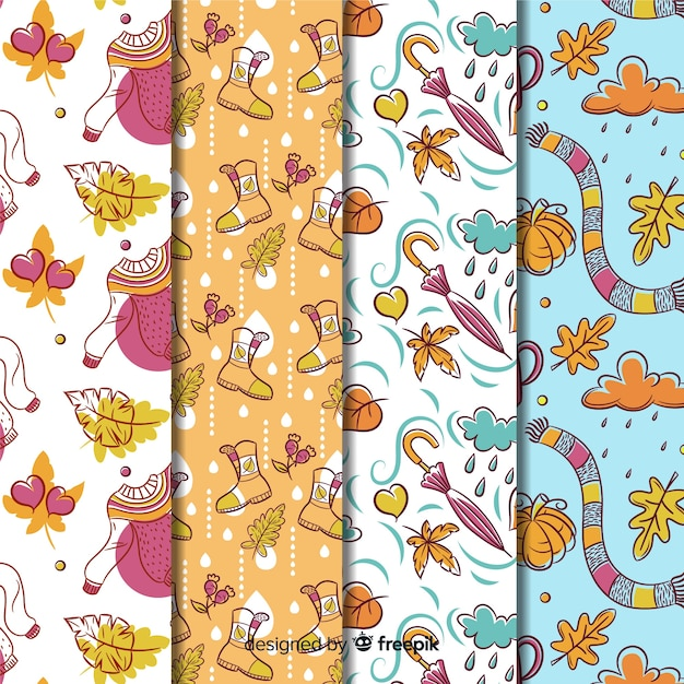 Collection of hand drawn autumn pattern Free Vector