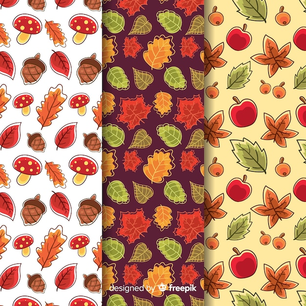 Collection of hand drawn autumn patterns Free Vector