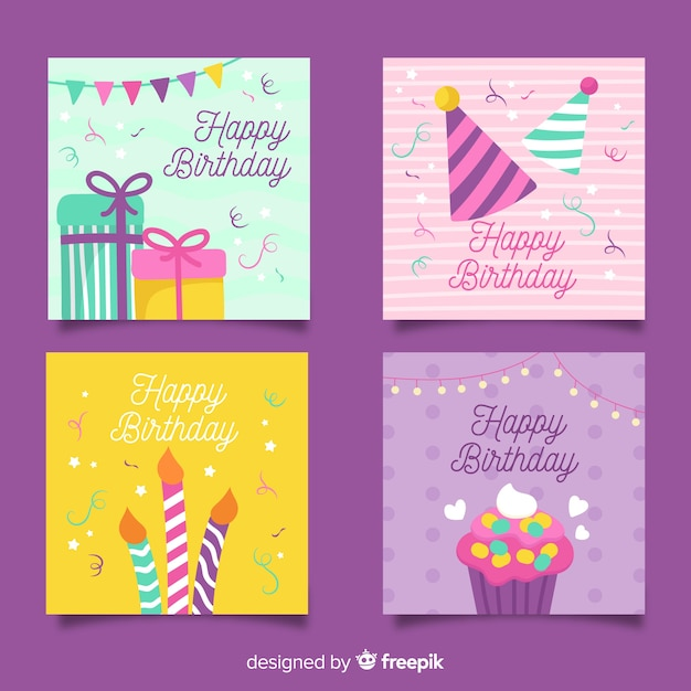 Collection of hand drawn birthday cards Free Vector