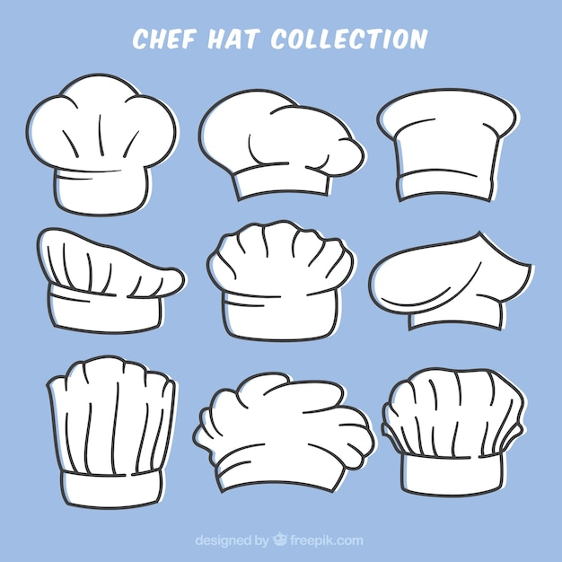 Collection of hand-drawn chef hats Free Vector