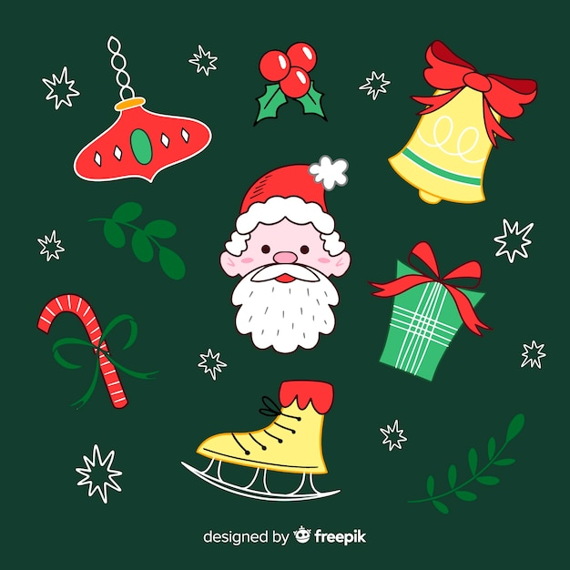 Collection of hand drawn christmas element Free Vector